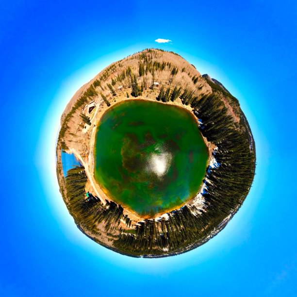 Mesa Lakes, Grand Mesa National Forest, CO, Tiny Planet View stock photo