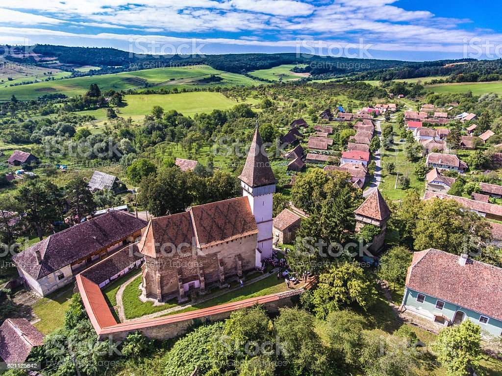 Mesendorf fortified church in a traditional saxon village in Tra stock photo