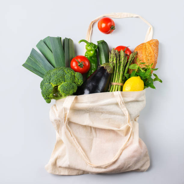 Mesh bag with fruits, vegetables. Zero waste, plastic free concept stock photo