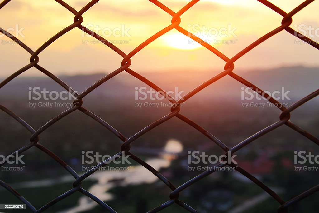 Mesh fence close-up stock photo