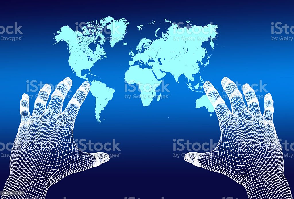 3D mesh hands reaching world map in virtual reality setting stock photo