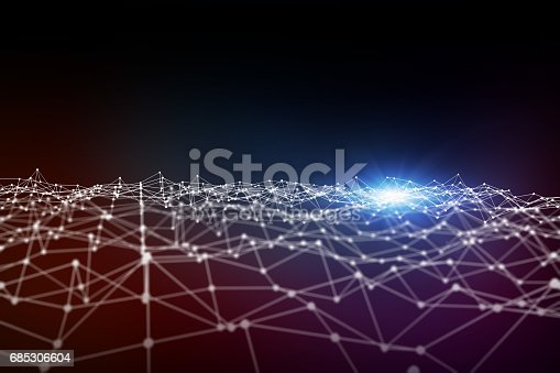 mesh network abstract background, 3D rendering, mixed media