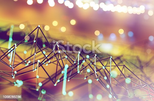 istock Mesh or net with lines and geometrics shapes detail.3d illustration 1058285236