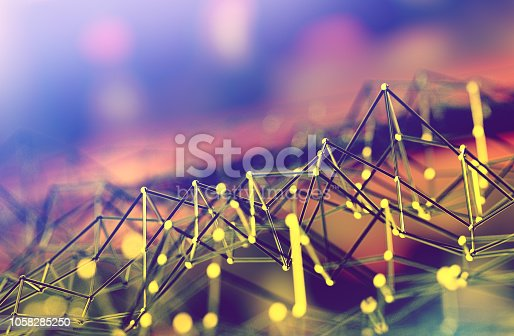 istock Mesh or net with lines and geometrics shapes detail.3d illustration 1058285250
