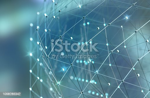 istock Mesh or net with lines and geometrics shapes detail.3d illustration 1058285342