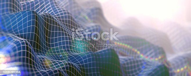 istock Mesh or net with lines and geometrics shapes detail.3d illustration 1058285364