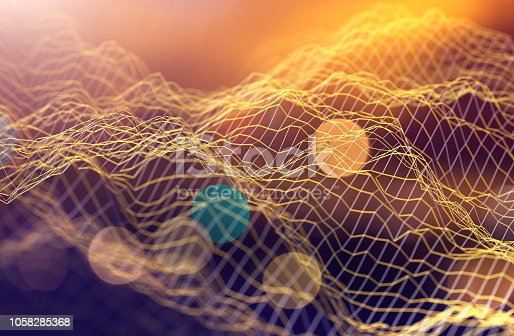 istock Mesh or net with lines and geometrics shapes detail.3d illustration 1058285368