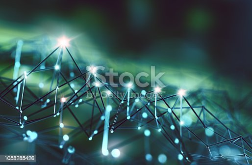 istock Mesh or net with lines and geometrics shapes detail.3d illustration 1058285426
