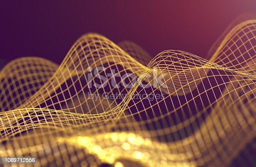 istock Mesh or net with lines and geometrics shapes detail.3d illustration 1069712556