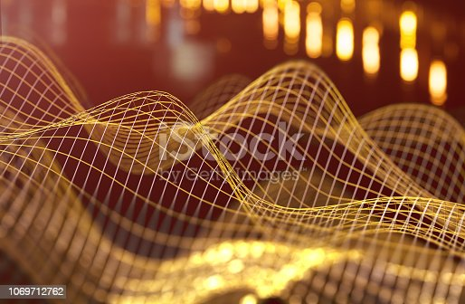 istock Mesh or net with lines and geometrics shapes detail.3d illustration 1069712762