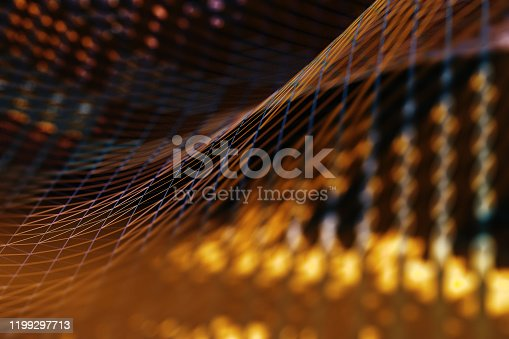 868704438 istock photo Mesh or net with lines and geometrics shapes detail.3d illustration 1199297713