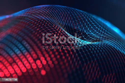 868704438 istock photo Mesh or net with lines and geometrics shapes detail.3d illustration 1199297756
