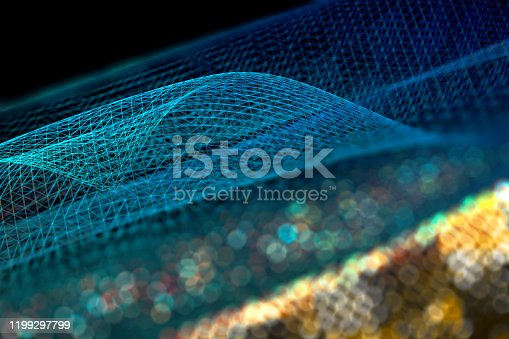 868704438 istock photo Mesh or net with lines and geometrics shapes detail.3d illustration 1199297799