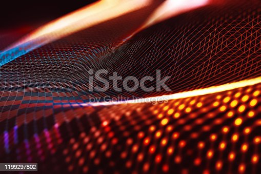 868704502istockphoto Mesh or net with lines and geometrics shapes detail.3d illustration 1199297802