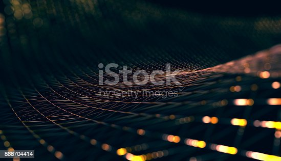 istock Mesh or net with lines and geometrics shapes detail.3d illustration 868704414