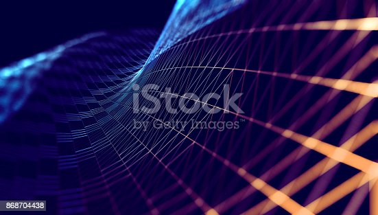 istock Mesh or net with lines and geometrics shapes detail.3d illustration 868704438