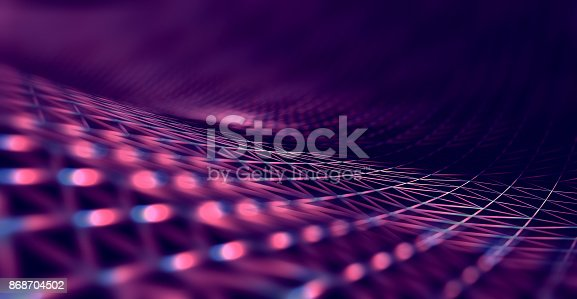 istock Mesh or net with lines and geometrics shapes detail.3d illustration 868704502
