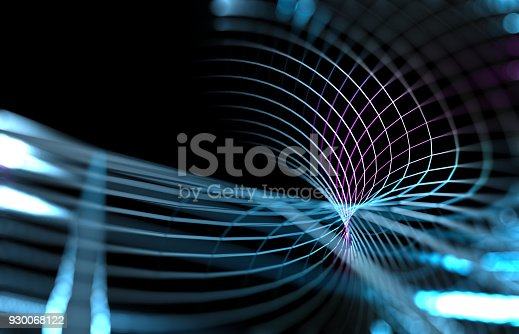 istock Mesh or net with lines and geometrics shapes detail.3d illustration 930068122
