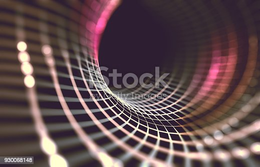 868704438 istock photo Mesh or net with lines and geometrics shapes detail.3d illustration 930068148