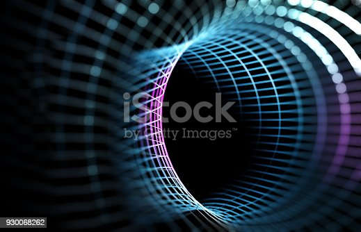 istock Mesh or net with lines and geometrics shapes detail.3d illustration 930068262