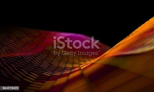 868704438 istock photo Mesh or net with lines and geometrics shapes detail.3d illustration 944319420