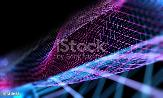istock Mesh or net with lines and geometrics shapes detail.3d illustration 944319466