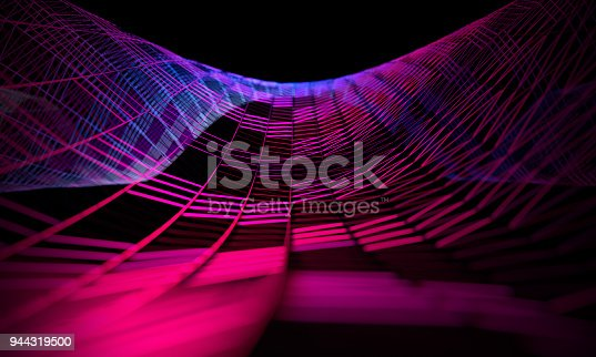 istock Mesh or net with lines and geometrics shapes detail.3d illustration 944319500
