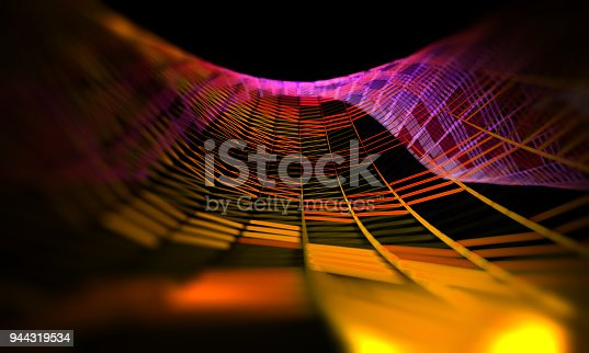 istock Mesh or net with lines and geometrics shapes detail.3d illustration 944319534
