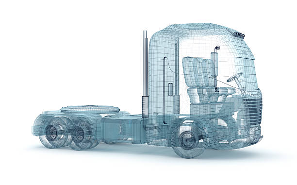 Mesh truck isolated on white. My own design .  3D illustration stock photo