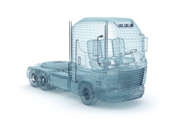 Mesh truck isolated on white. My own design stock photo