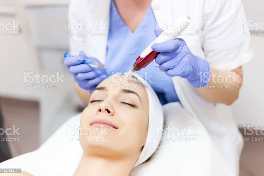Mesotherapy with an Intradermal Hyaluronic Acid Formulation for Skin Rejuvenation stock photo