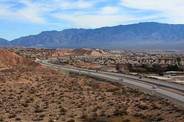 mesquite nevada and i-15 highway looking east - clark county nevada stock pictures, royalty-free photos & images