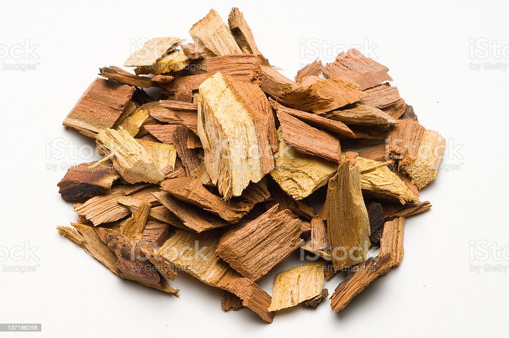 Mesquite Wood Chips for Barbecue stock photo