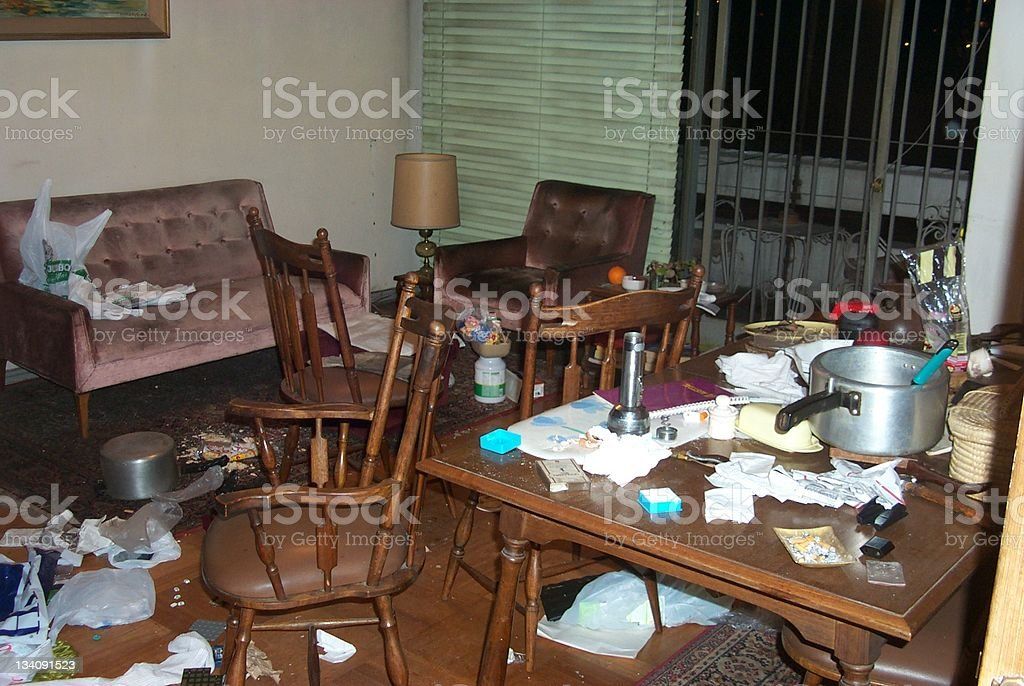 a trashed appartment