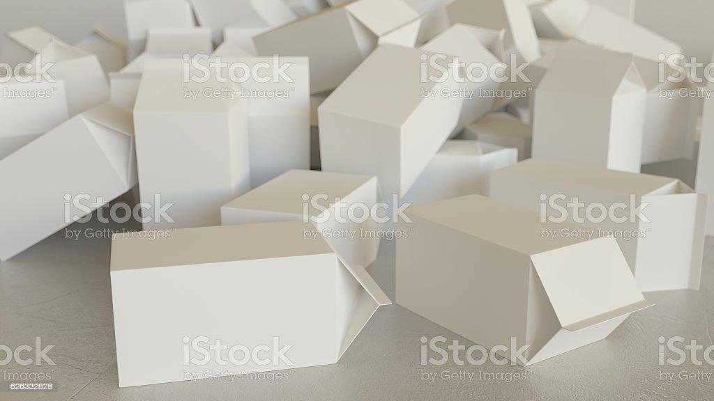 Mess of Blank Milk Cartons on Concrete - Photo