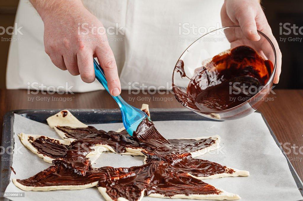Mess when preparing homemade chocolate stock photo
