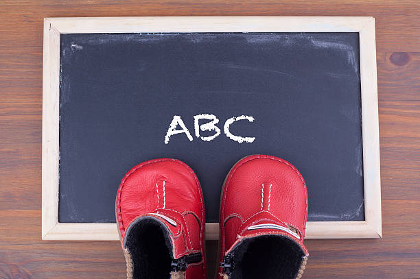 ABC message and kid shoes on on chalkboard - foto de acervo