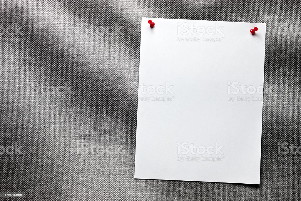 Message board with two empty sheets of paper royalty-free stock photo