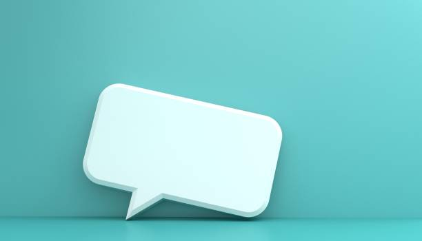 Message bubble on wood background stock photo