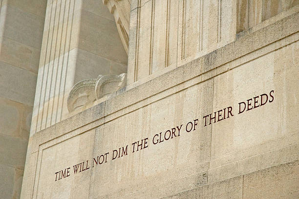 Message Carved in the Aisne-Marne American Memorial  aisne stock pictures, royalty-free photos & images