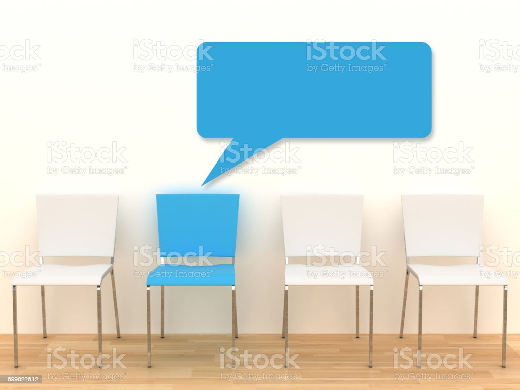 Message chair different copyspace stock photo