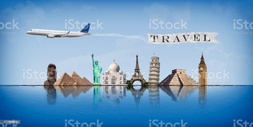 Mensaje concepto de viajes en todo el mundo - foto de stock