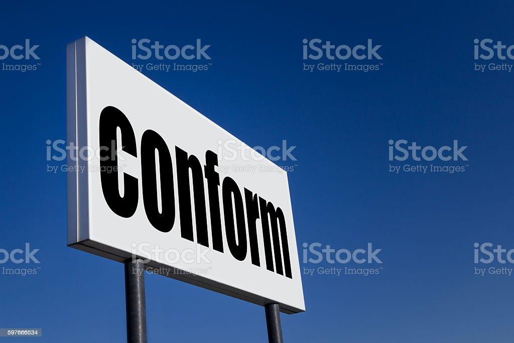 Message 'CONFORM' stock photo