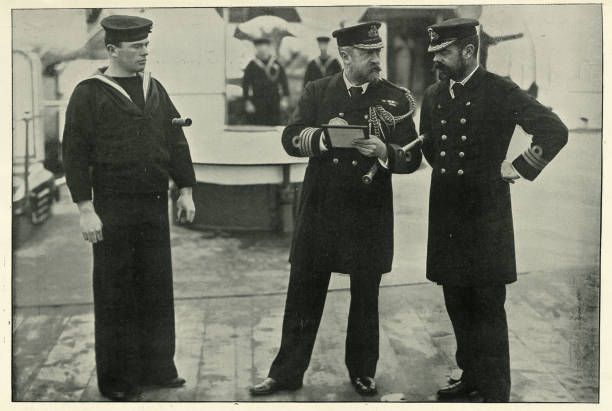Message for the Captain of HMS Magnificent, Royal navy stock photo