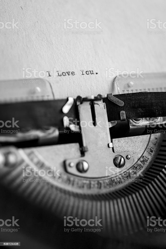 Message I love you printed on typewriter stock photo