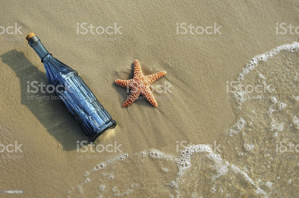 Message in a Bottle and Starfish stock photo