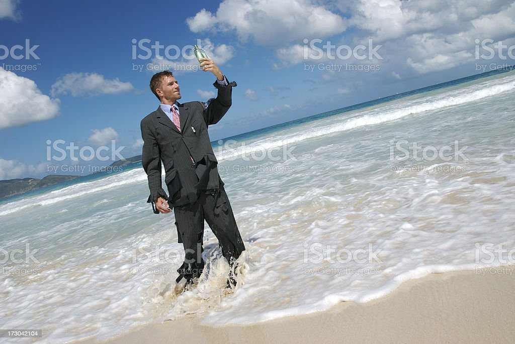 Message in a Bottle Castaway royalty-free stock photo