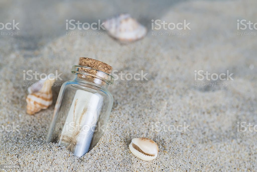 Message in a bottle on the sand of th beach stock photo
