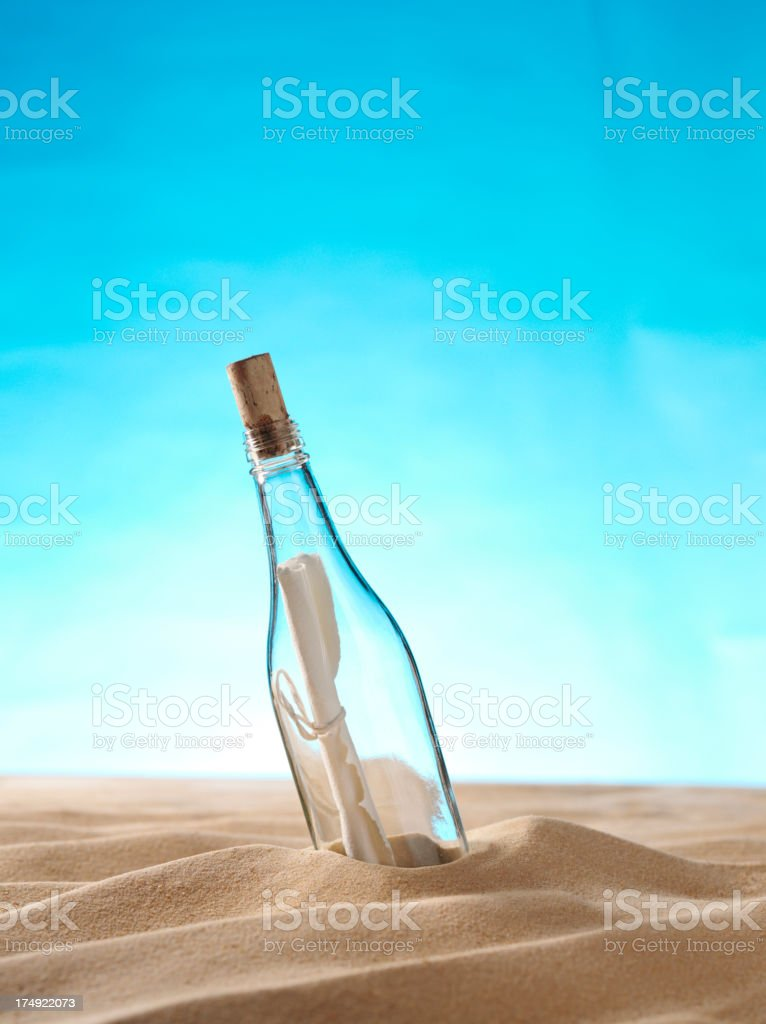 Message in a Bottle on the Sand stock photo