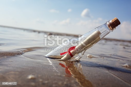 Message in a bottle washed up on a beach concept for help, sos, emergency and assistance